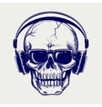 Skull sketch with headphones vector image vector image