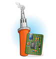soldering iron and circuit board with components vector image vector image