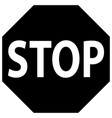 stop sign and symbol black icon vector image vector image
