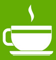 tea cup and saucer icon green vector image vector image
