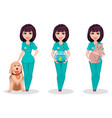 veterinarian woman set of three poses vector image vector image
