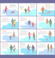 wintertime couple man and woman walking together vector image vector image