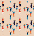 womens day seamless pattern of happy women dancing vector image