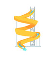 yellow plastic slide equipment for an aquapark vector image vector image