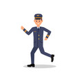 young pilot of airplane in running action vector image vector image