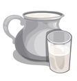 Jug of milk and filled glass drink isolated vector image