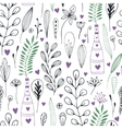 floral pattern with doodle flowers and vector image
