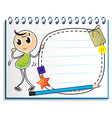 A notebook with a kid dancing at the cover page vector image vector image