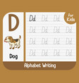 alphabet tracing worksheet with letter and vector image vector image