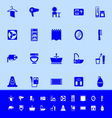 Bathroom color icons on blue background vector image vector image