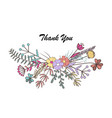 beautiful floral thank you card cute flower vector image
