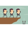 Blindfolded businessmen following each other to vector image vector image