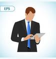 businessman holding digital tablet pc portrait of vector image