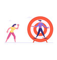 businesswoman aiming with darts to businessman vector image vector image