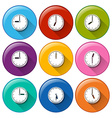 Buttons with clocks vector image vector image