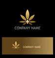 cannabis leaf medic gold logo vector image