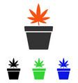cannabis pot flat icon vector image vector image