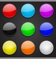 colored glass 3d buttons round icons on black vector image vector image
