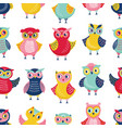 colorful seamless pattern with adorable owls on vector image vector image