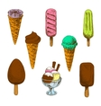 Colorful sketches of ice cream desserts vector image vector image