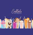 composition delicious milkshakes in glasses vector image