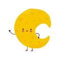cute funny moon character hand drawn vector image vector image