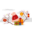 cute pig sitting on box with gifts chinese new vector image vector image