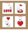 Cute Valentines day cards with funny puppy vector image vector image