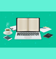 digital book reading online on laptop computer vector image