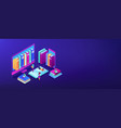 e-library isometric 3d banner header vector image vector image