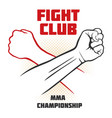 fight club poster with strong hand emblem vector image vector image