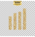 Gold glitter icon of wireless isolated on vector image