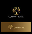 gold tree nature logo vector image vector image
