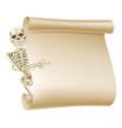halloween skeleton scroll vector image vector image