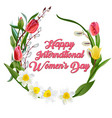 happy women s day greeting card postcard on march vector image vector image