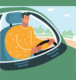 happy young man driving car vector image