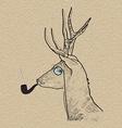 Hipster reindeer smoking tobacco pipe vector image