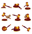 judge hammer icon set cartoon style vector image