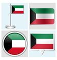 Kuwait flag - sticker button label flagstaff vector image vector image