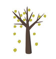 linden tree with falling leaves in simple flat vector image