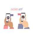 man and woman hands with phone app white vector image vector image