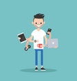 multitasking millennial concept young bearded man vector image vector image