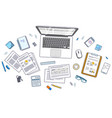 office desk workspace top view with laptop vector image