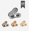 peanut isolated black and colored icons vector image
