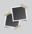 photo frame with adhesive tape isolated on grey vector image vector image