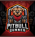 pitbull gunner esport mascot logo vector image