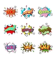 Popart comic speech bubble boom effects vector image