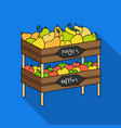 Raw food lying on rack shelves icon in flate style vector image