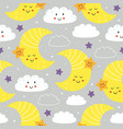 seamless pattern with cute moonstar and cloud vector image vector image