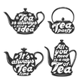 set tea pot silhouettes with quotes vector image vector image